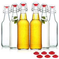 Clear Glass Beer Bottles for Home Brewing with Easy Wire Swing Cap & Airtight Silicone Seal 16 oz- Case of 6