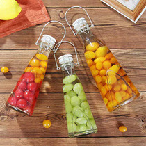 6 Pack Clear Swing Top Glass Bottles with Handle 16oz Size Flip Top Brewing Bottles Leak Proof With Easy Caps