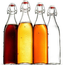 Swing Top Clear Glass SQUARE Bottle With Airtight Stopper - 33.75 oz (4 Pack) Fliptop Bottles Great for Oil and Vinegar, Beverages, Homemade Juices, Smoothies, (Not For Carbonated Beverages)