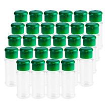Set of 28 Pcs Empty Plastic Spice Bottles for Storing Barbecue Seasoning Salt Pepper,Shaker Bottles for Glitters,2.5 Fluid Ounces/75 ml (Green)