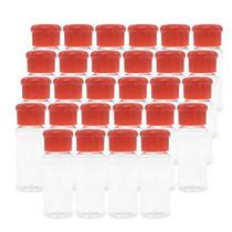 Set of 28 Pcs Empty Plastic Spice Bottles for Storing Barbecue Seasoning Salt Pepper,Shaker Bottles for Glitters,2.5 Fluid Ounces/75 ml (Red)
