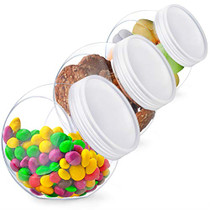 Candy Jar, Candy Jars with Lids, Cookie Jar for Kitchen Counter, Plastic Candy Jars for Candy Buffet and Party Table, Candy Buffet Containers, Cookie Jars with Lids Set, Candy Holder, Clear Plastic Jars with Lids, 3 Pack, 48 oz