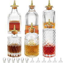 Bitters Bottle Set of 6 - Glass Bitter Bottle, with Zinc Alloy Dash Top, Great Bottle for Your Bitters - DSBT6 (6)