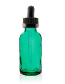 1 oz Specialty Caribbean Green Boston Round w/ Black Child Resistant Dropper