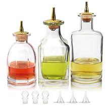 Bitters Bottle Set - Set of 3 Dash Bottle with Gold Dasher Top, Antique Design High White Glass Bottle for Bartender - BTSET0004 (3pcs)