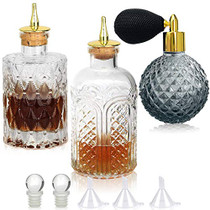 Bitters Bottle Set of 3, Glass Dasher Bottle with Dasher Top, Atomizer Spray Bottle 3.4oz, Great for Cocktail, Bartender, Home Bar
