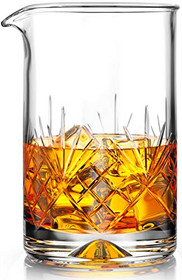 Crystal Cocktail Mixing Glass - 18oz 550ml - Thick Weighted Bottom - Premium Seamless Design - Professional Quality