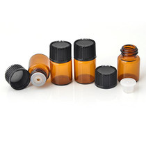 Mini Essential Oil Bottles Empty Sample bottle 1ml(1/4 dram) 2ml (5/8 dram) Amber Glass Bottle with Orifice Reducer and cap, With 2 Free Transfer Eye droppers(50 Pcs) (2ml)