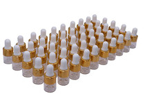50 Pcs Clear Glass Dropper Vails 1ml Mini Essential Oils Sample Dropper Bottles For Traveling Essential Oils Perfume Cosmetic Liquid,With 2 pcs dropper