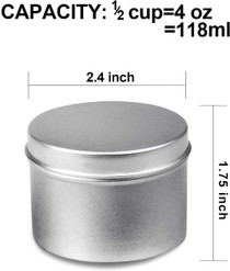 Candle Tin 18 Piece, 4 oz, Candle Containers for DIY Candle Making