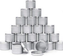 Candle Tins 24pcs 4oz for DIY Candle Making Round Storage Containers Metal Travel Tins with Lids