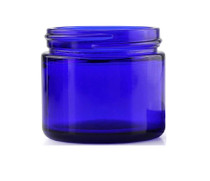 2 oz cobalt blue glass straight-sided round jar with 53-400 neck finish - Case of 168