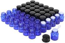 50 pack 1 ml 1/4 Dram Mini Blue Glass Essential Oils Sample Bottles Vials with Black Caps for Essential Oils