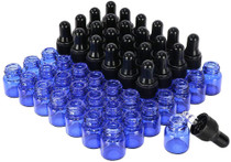 50 pack 1 ml 1/4 Dram Mini Blue Glass Sample Bottles with Glass droppe