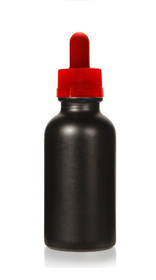 1 oz Specialty Volcanic Black Boston Round w/ Red Child Resistant Dropper