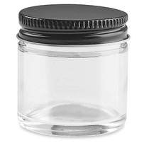 1 oz Straight-Sided Glass Jars - Black Metal Lid - 48/case