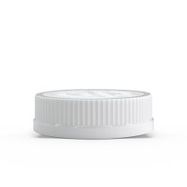 """53-400 White """"Push Down and Turn"""" Child-Resistant Ribbed Skirt Lid with Foam liner"""