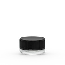 7 ml Clear Concentrate Glass Jar with Black Ribbed Child-Resistant Plastic Cap