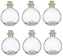 6 pcs Spherical Glass Bottles with Cork Bottle Stopper (6, 8.5 oz Clear)
