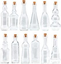 Small Clear Vintage Glass Bottles with Corks, Bud Vases, Decorative, Potion, Assorted Design Set of 12 pcs