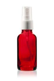 1 Oz Specialty Translucent Red Boston Round w/ White Fine Mist Sprayer