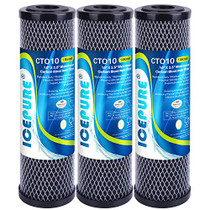 """ICEPURE 1 Micron 2.5"""" x 10"""" Whole House CTO Carbon Sediment Water Filter Cartridge Compatible with Dupont WFPFC8002, WFPFC9001, SCWH-5, WHCF-WHWC, WHCF-WHWC, FXWTC, CBC-10, RO Unit, Pack of 3"""