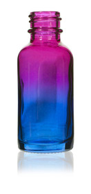 1 Oz Specialty Multi Fade Cosmic Cranberry and Teal blue Boston Round w/ White Child Resistant Dropper