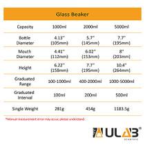 ULAB Griffin Low Form Glass Beaker, Vol.2000ml, 3.3 Borosilicate Glass, Printed Graduation, UBG1020