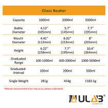 ULAB Griffin Low Form Glass Beaker, Vol.5000ml, 3.3 Borosilicate Glass, Printed Graduation, UBG1024