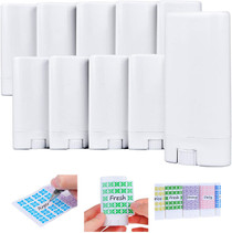 Deodorant Containers (10-Pack) - White - 0.5 Oz (15 ml) - 20 Writable