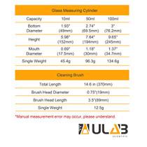 ULAB Scientific Thick Glass Graduated Measuring Cylinder Set, 3 Sizes 10ml 50ml 100ml, 3.3 Boro Hexagonal Base, 1 Cleaning Brush OFFERED, UMC1001
