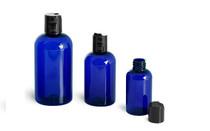 2 Oz Cobalt Blue Plastic PET Boston Round Bottle w/ Poly Seal Cone Cap