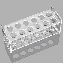 """Ackers Transparent Acrylic Test Tube Bottle Small Glass Holder, Built-in Handle,12 (2×6) Tube Capacity, 1.1"""" (27mm) Holes for 80ML Test Tubes"""