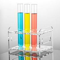 """Ackers Transparent Acrylic Test Tube Bottle Small Glass Holder, Built-in Handle, 12 Tube Capacity, 0.83"""" (21mm) Holes for 25ML Test Tubes"""