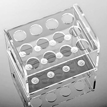 """Ackers Transparent Acrylic Test Tube Bottle Small Glass Holder,Built-in Handle, 12 Tube Capacity, 1.1"""" (27mm) Holes for 80ML Test Tubes"""