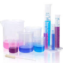 APLANET Plastic Graduated Cylinders and Beakers, 10ml, 25ml, 50ml, 100ml Cylinders with 50ml, 100ml, 250ml, 500ml, 1000ml Beakers and 1 Tube Brush, Ideal for Home and School Science Lab