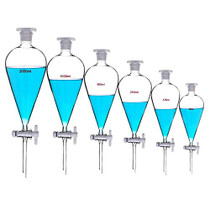 Borosilicate Glass 500ML Separating Funnel Heavy Wall Conical Separatory Funnel with 24/40 Joints and PTFE Stopcock Lab,Pyrex,Food,pear - 500ML