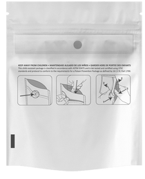 1000 White/Clear 3.00″ x 7.20″ Child Resistant Pouches