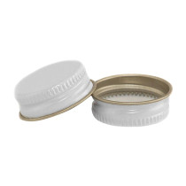 28-400 White Metal CT Lid with Plastisol Liner- Bag of 200