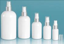 8 oz Plastic Bottles, White PET Boston Rounds with White Sprayers w/ Brushed Aluminum Collars - Set of 48