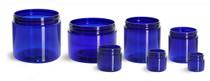 8 oz cobalt blue PET single wall jar with 89-400 neck finish- Case of 420