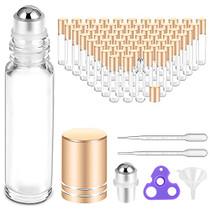 Essential Oil Roller Bottles 10 ml (Clear Glass, 60 Pack, 10 Extra Roller Balls,72 Labels, 4 Opener, 4 Funnels,4 Pipettes by PrettyCare) Roller Balls For Essential Oils, Roll on Bottles for DIY