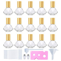 15 PCS 8 ml (0.27 oz) Mini Clear Glass Roller Bottles for Essential Oil roll on bottles refillable Travel perfume bottle with Stainless Steel Ball with Gold Cap (Gold)