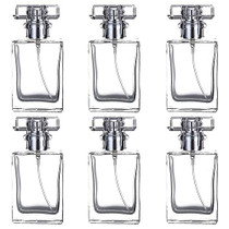 6 Pack 30ml / 1 Oz Transparent Refillable Perfume Bottle, Portable Square Empty Glass Perfume Atomizer Bottle with Spray Applicator 4 Free kinds of perfume dispenser(6 Pack 30ml / 1.01 oz. Transparent