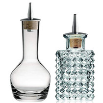 Bitters Bottle - 3-ounce Glass Dispenser Bottles to Store and Dash Homemade Cocktail Bitter Ingredients - Vintage Square and Round Design with Cork Dasher Top - Set of 2