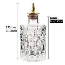 Bitters Bottle - Jewel Bitter Bottle For Cocktail, 6oz / 175ml, Glass Dahs Bottle With Gold Plated Cork Dasher Top - DSBT0011 (3, Gold)