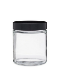 1 oz Clear GLASS Jar Straight Sided w/ Plastic Lined black Cap - pack of 12
