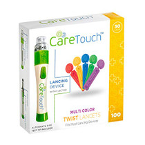 Care Touch Adjustable Lancing Device with 100 Multi Colored Twist Top Lancets - 100 30-Gauge Lancets and Lancing Device - 10 Depths