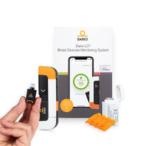 DARIO Blood Glucose Monitor Kit Test Your Blood Sugar Levels and Estimate A1c After 3m. Kit Includes: Glucose-Meter with 25 Strips,10 Sterile lancets (iPhone Lightning)