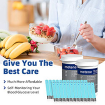 Metene TD-4116 Blood Glucose Test Strips, 100 Count Blood Sugar Test Strips for Diabetes, Use with Metene TD-4116 Blood Glucose Monitoring System Only